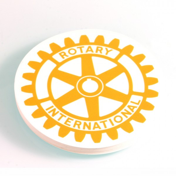 Rotary International Sticker, ø 8 cm Round in yellow